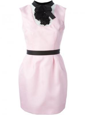 Декорированное мини-платье Daniele Carlotta. Цвет: розовый и фиолетовый
