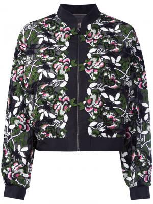 Куртка с цветочной вышивкой Giambattista Valli. Цвет: чёрный