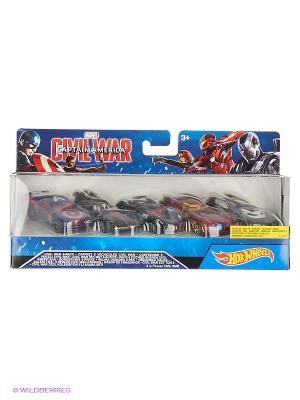 Машинки персонажей комиксов Марвел (упаковка из 5-ти) Hot Wheels. Цвет: синий, красный