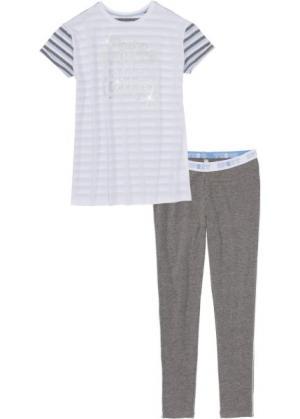 Пижама с легинсами (белый/серый меланж/синяя пудра в полоску) bonprix. Цвет: белый/серый меланж/синяя пудра в полоску