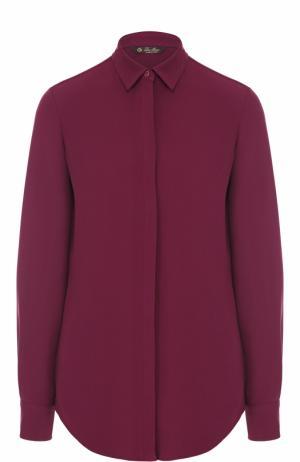 Шелковая блуза с контрастной спинкой Loro Piana. Цвет: бордовый