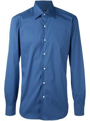 Рубашка кроя слим Barba. Цвет: синий