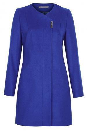 Приталенное асимметричное пальто  без воротника из вирджинской шерсти Your line