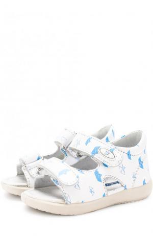 Кожаные сандалии с застежками велькро и принтом Falcotto. Цвет: белый