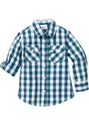 Клетчатая рубашка (сине-зеленый/белый в клетку) bonprix. Цвет: сине-зеленый/белый в клетку