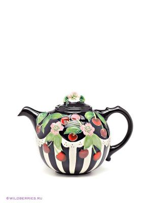 Заварочный чайник Вишенки Blue Sky. Цвет: черный, зеленый, красный, белый