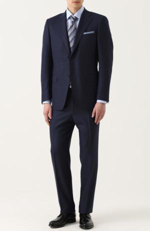Шерстяной костюм с пиджаком на двух пуговицах Canali. Цвет: синий