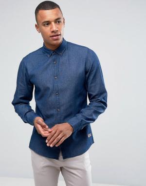 Solid Джинсовая рубашка классического кроя. Цвет: синий