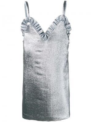 Платье мини с оборками Jacquemus. Цвет: металлический