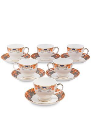 Чайный набор на 6 перс. Риомаджоре (Riomaggiore Pavone) Pavone. Цвет: белый,оранжевый