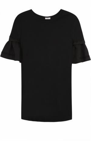 Хлопковая футболка прямого кроя с оборками на рукавах Clu. Цвет: черный