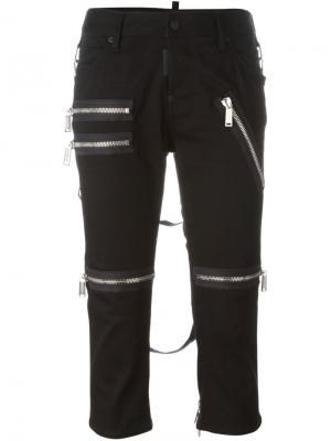 Укороченные брюки с декоративными молниями Dsquared2. Цвет: чёрный