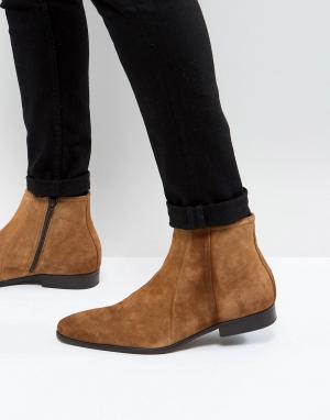 Zign Замшевые ботинки с молнией. Цвет: коричневый