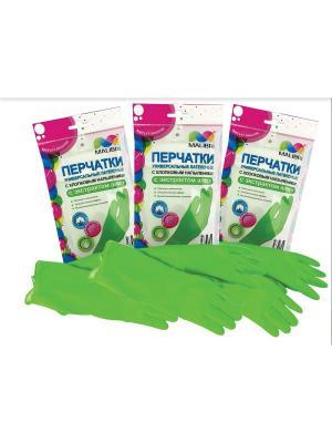 Перчатки латексные с хлопковым напылением АЛОЕ, 3 пары MALIBRI. Цвет: зеленый