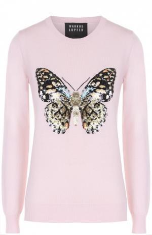 Удлиненный пуловер с контрастной вышивкой пайетками Markus Lupfer. Цвет: розовый
