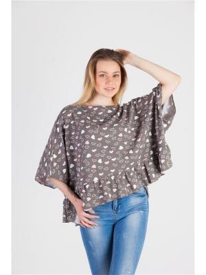 Блуза PONCHO Ням-Ням. Цвет: коричневый, белый, розовый