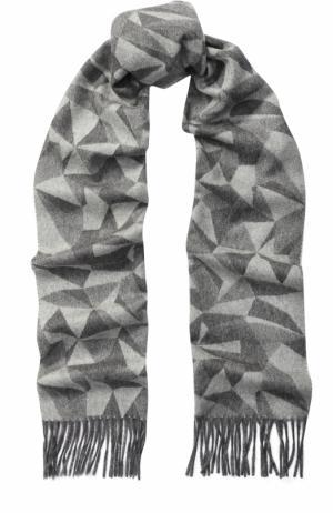 Кашемировый шарф с принтом и бахромой Piacenza Cashmere 1733. Цвет: серый