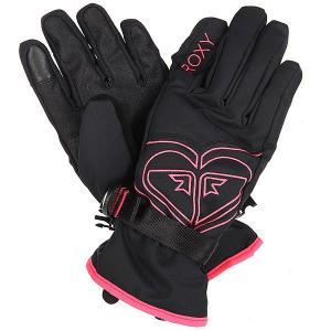 Перчатки сноубордические женские  Popi Gloves True Black Roxy. Цвет: черный,розовый