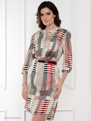 Платье ZENDRA. Цвет: молочный, красный, горчичный