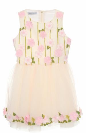 Приталенное мини-платье с цветочной вышивкой и аппликациями I Pinco Pallino. Цвет: розовый