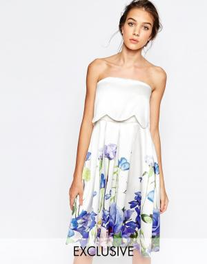 Hope and Ivy Приталенное платье 2 в 1 с цветочным принтом. Цвет: мульти