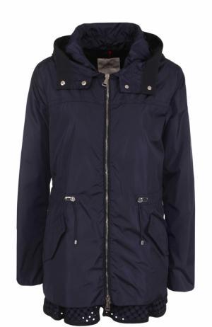 Приталенная куртка на молнии с капюшоном Moncler. Цвет: темно-синий