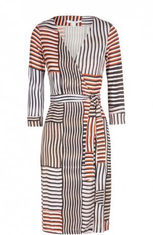 Платье с запахом и поясом New Julian Two из эластичного шелка Diane Von Furstenberg. Цвет: разноцветный