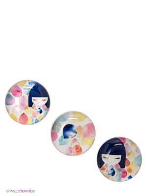 Набор стеклянных магнитов Михоко Kimmidoll. Цвет: розовый, синий