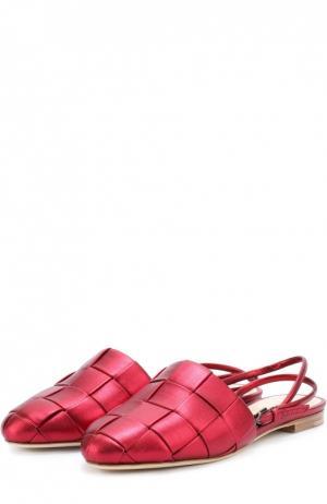 Сатиновые балетки с плетением Marco de Vincenzo. Цвет: бордовый