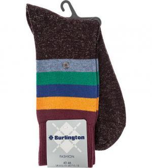 Бордовые хлопковые носки в полоску Burlington. Цвет: полоска