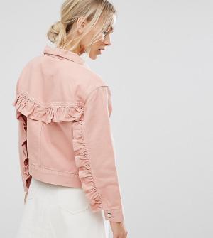 ASOS Petite Выбеленная розовая джинсовая куртка с рюшами на спине. Цвет: синий