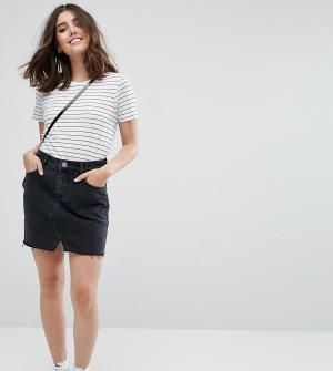 ASOS Petite Черная выбеленная джинсовая мини‑юбка. Цвет: черный