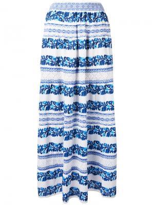 Floral stripe skirt Cecilia Prado. Цвет: белый