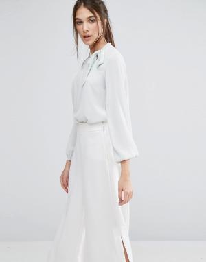 Closet London Блузка с длинными рукавами и бантом. Цвет: зеленый