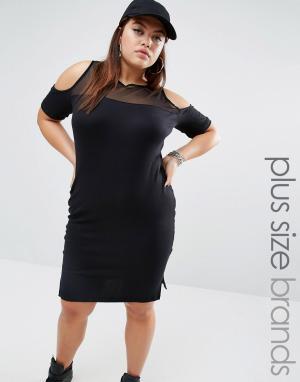 One Three Платье в полоску с сетчатой вставкой и открытыми плечами. Цвет: мульти
