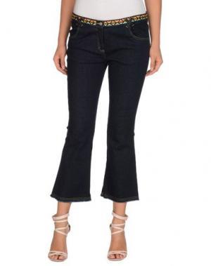 Джинсовые брюки-капри VENTI CENTO VENTUNO. Цвет: синий