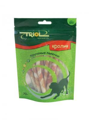 Крученые палочки с кроликом для собак TRIOL. Цвет: коричневый