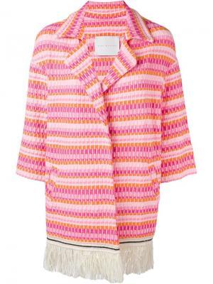 Парчовое пальто на пуговицах Giada Benincasa. Цвет: розовый и фиолетовый