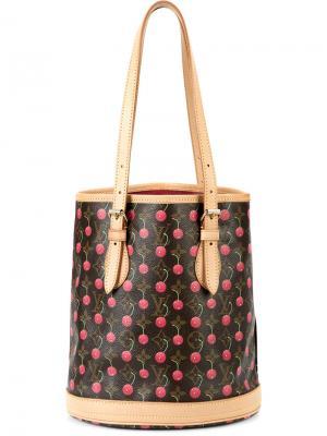 Monogram cherry print shoulder bag Louis Vuitton Vintage. Цвет: коричневый