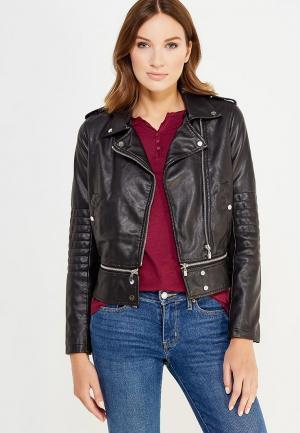 Куртка кожаная oodji. Цвет: черный
