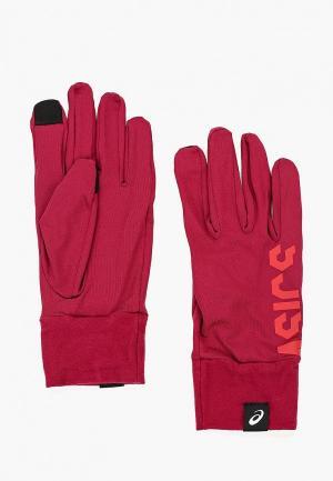 Перчатки ASICS. Цвет: бордовый