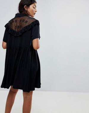 Lazy Oaf Платье с оборками. Цвет: черный