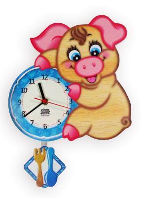Часы настенные с маятником Хрюшечка Рюшечка Ларец Чудес. Цвет: голубой, розовый, светло-коричневый