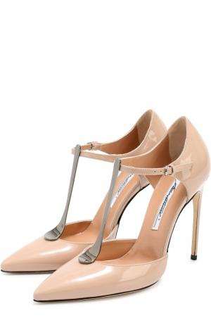 Лаковые туфли Astral с Т-образным ремешком на шпильке Brian Atwood. Цвет: бежевый