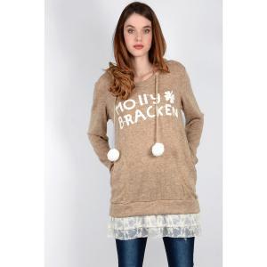 Пуловер из тонкого трикотажа с капюшоном MOLLY BRACKEN. Цвет: бежевый