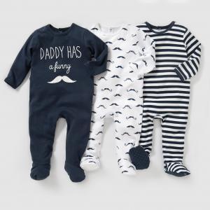 3 пижамы из интерлока 0 мес-3 лет R édition. Цвет: белый + синий + в полоску