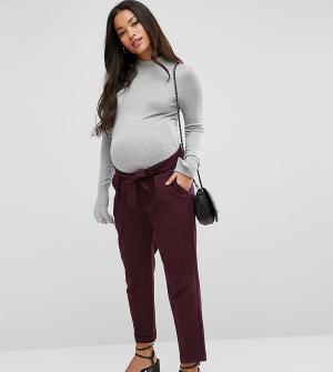 ASOS Maternity Брюки-галифе с поясом оби. Цвет: красный