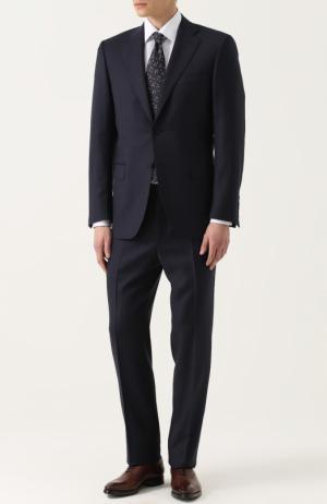 Шерстяной костюм с пиджаком на двух пуговицах Canali. Цвет: темно-синий