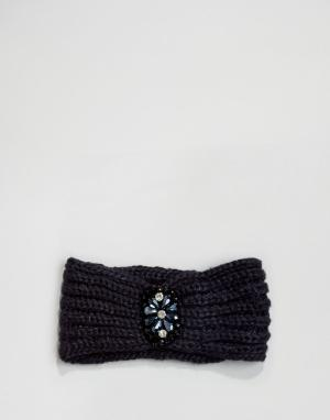 Boardwalk Вязаная повязка на голову с камнями Boardmans. Цвет: темно-синий