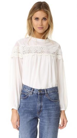 Блуза в богемном стиле ENGLISH FACTORY. Цвет: белый